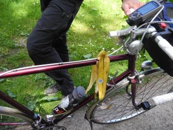 Ich hatte eher Trockenfisch erwartet. Philipp nutzt sein Fahrrad echt für ALLES.