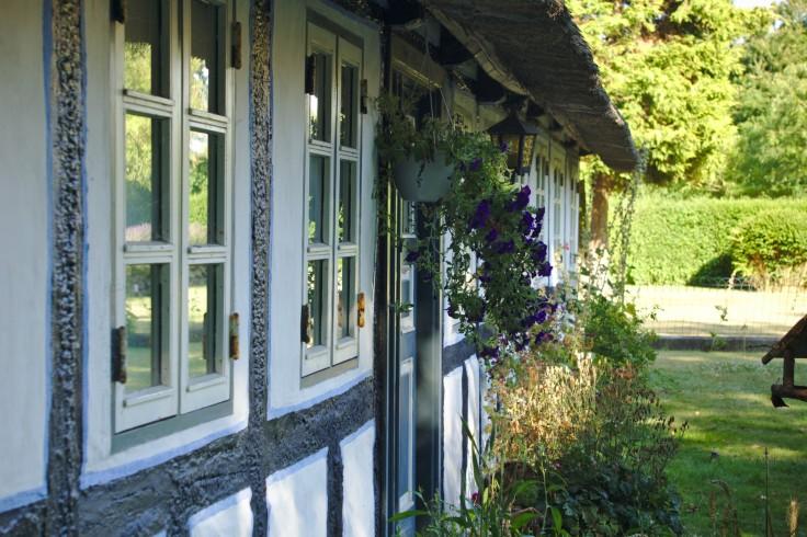 Die Fassade eines dänischen Fachwerkhauses mit Reetdach, schräg von der Seite fotografiert.
